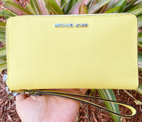 Michael Kors Jet Set Medium Zip Around Phone Holder Wallet Wristlet Sunshine Yellow - Gaby's Bags