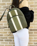 Michael Kors Abbey Medium Backpack Ivy Green MK Signature Stripe - Gaby's Bags