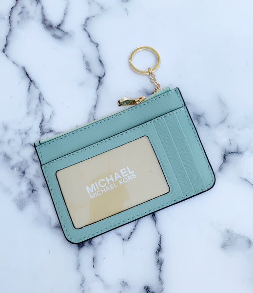 Michael Kors Jet Set Travel Small Top Zip Coin Pouch ID Holder Pale Jade