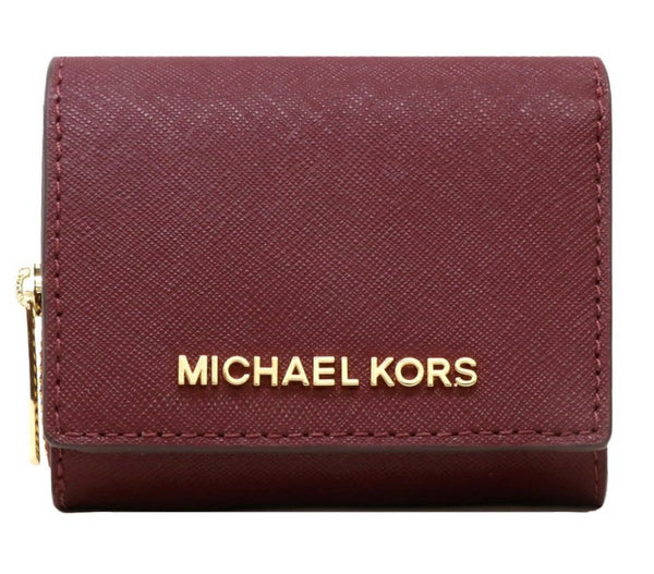 Michael Kors Jet Set Travel Small Multifunctional Zip Around Case Wallet Merlot - Gaby's Bags