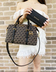 Michael Kors Ginger Large Duffle Satchel Bag MK Signature + Black Trifold Wallet