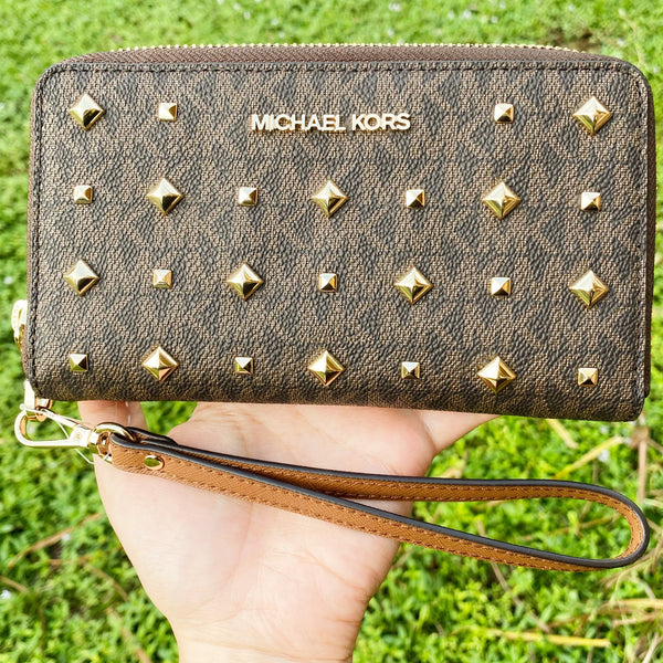 Michael Kors Jet Set Travel Large Phone Case Wristlet PVC MK Brown Gold Studded