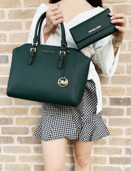 Michael Kors Ciara Large Top Zip Satchel + Trifold WalletRacing Green - Gaby's Bags