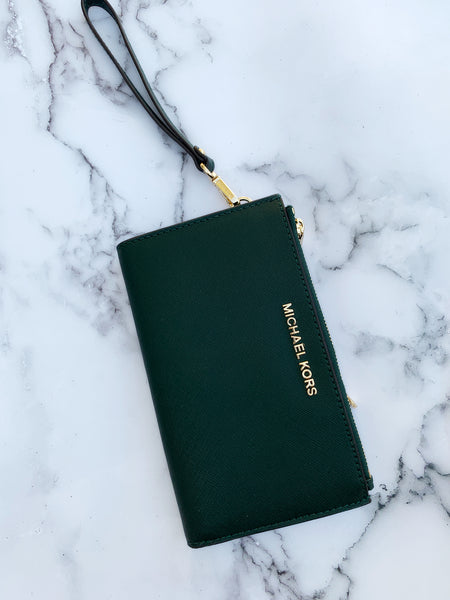 Michael Kors Jet Set Large Double Zip Wristlet Racing Green - Gaby's Bags