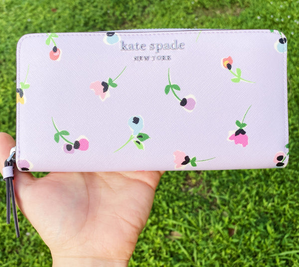 Kate Spade Cameron Neda Zip Around Continental Wallet Flora Wildflower Lilac
