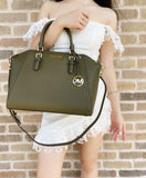 Michael Kors Ciara Large Top Zip Satchel Saffiano Duffle Green Leather Crossbody