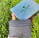 Kate Spade Lola Joeley Glitter Card Holder Wallet Dusk Navy Gift Box