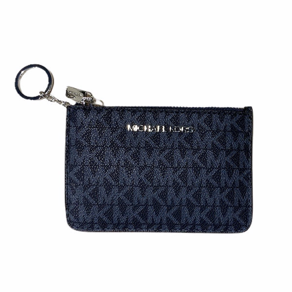 Michael Kors Jet Set Top Zip Coin Pouch ID Card Holder Key Ring Wallet Admiral MK