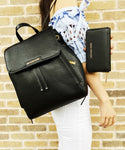 Michael Kors Ginger Medium Abbey Backpack Black + Jet Set Zip Around Wallet