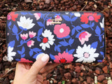 Kate Spade Cameron Street Daisy Lacey Zip Around Wallet Blue Multi Floral - Gaby's Bags