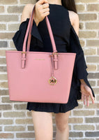 Michael Kors Jet Set Medium Carryall Tote Rose + Trifold Wallet - Gaby's Bags