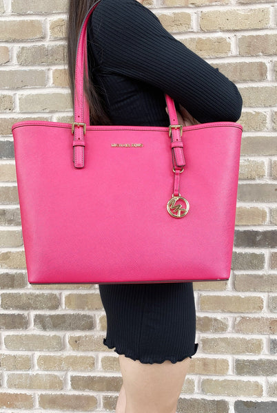 Michael Kors Jet Set Travel Medium Carryall Tote Saffiano Leather Pink
