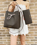 Michael Kors Suri Large Bucket Bag MK Brown Pink + Continental Wristlet