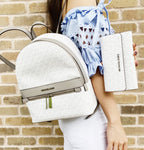 Michael Kors Kenly Medium Backpack Bright White MK Grey + Large Trifold Wallet