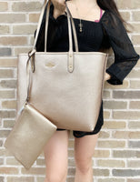 Coach F36658 Reversible City Tote Signature Khaki Rose Gold - Gaby's Bags