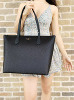Kate Spade Joeley Glitter Penny Large Top Zip Tote Handbag WKRU6278 Black - Gaby's Bags