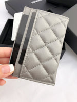 NWT Chanel Caviar Silver O-Card Holder O-Case Wallet NEW 2017 - Gaby's Bags