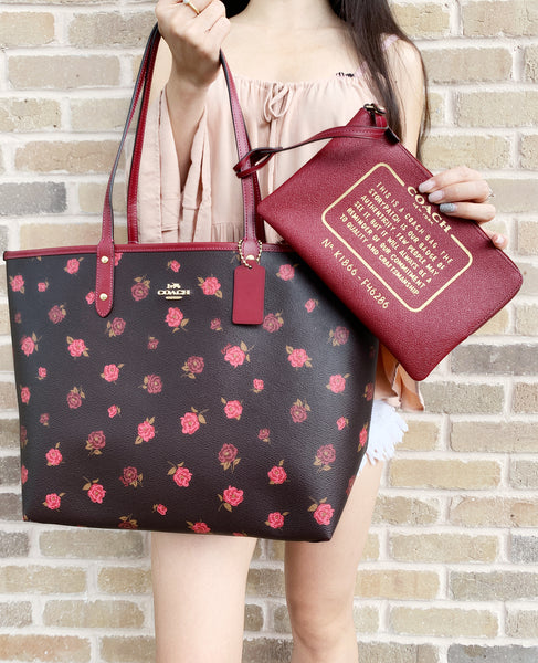 Coach F36658 F37807 Reversible City Tote Oxblood Cherry Floral + Pouch - Gaby's Bags
