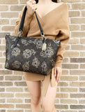 Coach F58318 F77845 Signature Ava Large Top Zip Tote Brown Black Metallic Floral