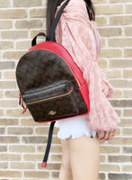 Coach F32200 Signature Coated Canvas Medium Charlie Backpack Brown True Red - Gaby's Bags