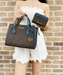 Michael Kors Hope Medium Messenger Brown MK Dark Chambray Satchel + Zip Wallet