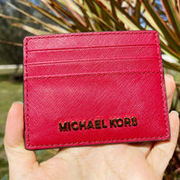Michael Kors Jet Set Travel Large Leather Card Case Holder Wallet Scarlet