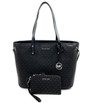 Michael Kors Jet Set Large Drawstring Tote +MK Double Zip Wristlet (Black Signature)