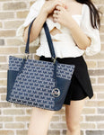 Michael Kors Bedford Large East West Top Zip Tote Handbag Jacquard MK Navy - Gaby's Bags