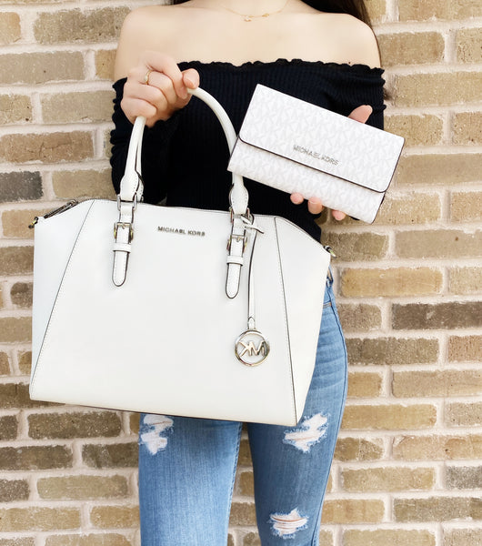 Michael Kors Ciara Large Tip Zip Satchel White + MK Signature Trifold Wallet