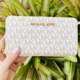 Michael Kors Jet Set Signature Vanilla Medium Flight Bag Crossbody + Zip Wallet