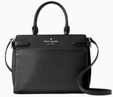 Kate Spade Staci Medium Saffiano Leather Top Zip Satchel Purse Crossbody Black