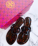 Tory Burch Miller Sandals Flip Flop Patent Leather Tortoise Shell 7.5 - Gaby's Bags