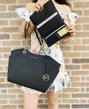 Michael Kors Jet Set Chain Shoulder Tote Black MK Signature + Trifold Wallet