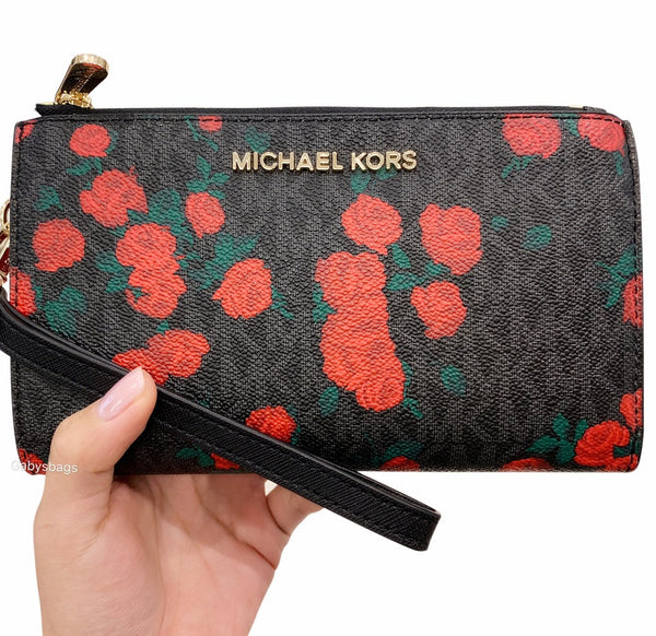 c2eeb35c3ec0 Michael Kors Jet Set Double Zip Wristlet Phone Wallet Black MK Signature  Red Rose