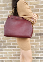 Michael Kors Jet Set Large Chain Shoulder Tote Merlot Pebbled Leather - Gaby's Bags