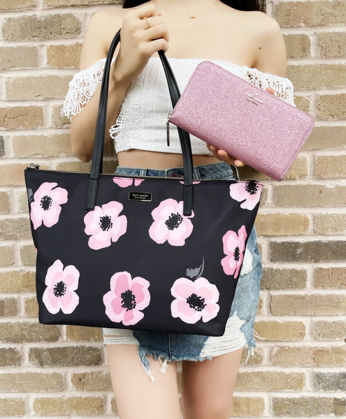 Kate Spade Hayden Nylon Tote Black Pink Floral + Lola Zip Around Wallet Glitter