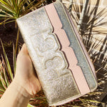 Tory Burch Scallop-T Metallic Zip Continental Wallet Dark Pink Quartz Spark Gold