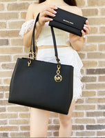 Michael Kors Sofia Susannah Large Chain Tote Black Leather + Trifold Wallet