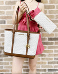 Michael Kors Jet Set Tote Vanilla MK Signature Tote + Large Continental Wallet - Gaby's Bags