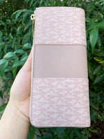 Michael Kors Jet set Travel 3/4 Zip Continental Wallet Vanilla Brown Pink Fawn - Gaby's Bags