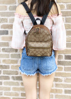 Coach F58315 Mini Charlie Signature Backpack Bag Khaki Saddle Brown - Gaby's Bags