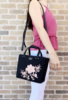 Kate Spade Dawn Place Embellished Mini Kona Tote Crossbody Black Pink Floral - Gaby's Bags