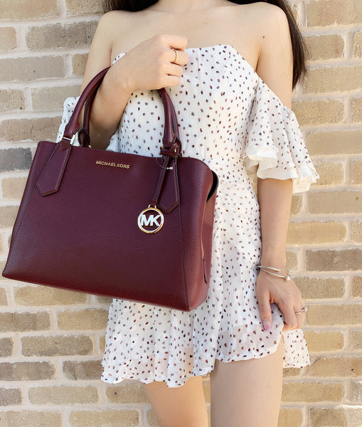 Michael Kors Kimberly Large East West Satchel Merlot Pebbled Leather - Gaby's Bags