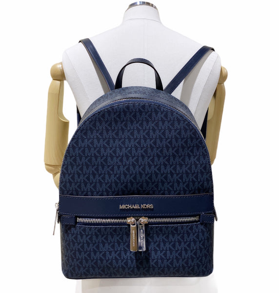 Michael Kors Kenly Medium Backpack Front Pocket Admiral Blue MK Signature