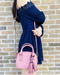 Tory Burch Thea Mini Crossbody Leather Satchel Bag Pink Magnolia Tassel