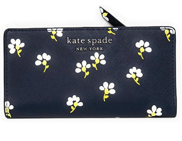 Kate Spade Cameron Large Slim Bifold Leather Wallet Daisy Toss Nightcap Blue