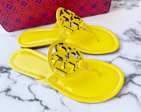 NIB Tory Burch Miller Sandals Patent Leather Limone Yellow 8
