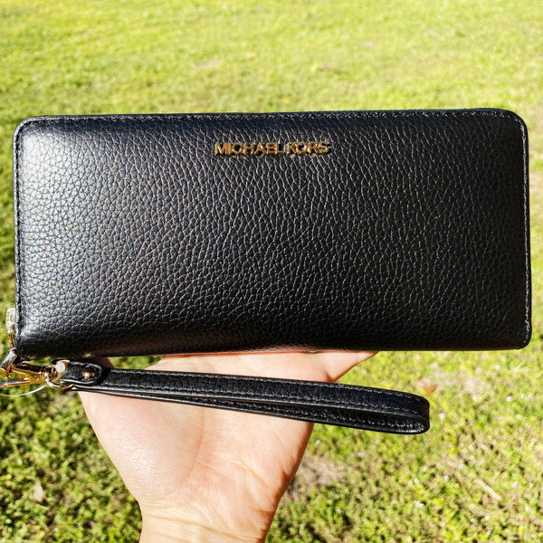 Michael Kors Jet Set Travel Continental Long Wallet Wristlet Black Pebbled Leather