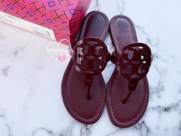 Tory Burch Miller Sandals Embossed Leather Claret Burgundy 7 - Gaby's Bags