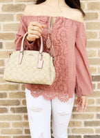 Coach F29434 Mini Sage Carryall Satchel Light Khaki Carnation Pink - Gaby's Bags